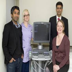 The Harley Street Diagnostic Centre has installed an ACUSON S2000™ from Siemens Healthcare, enabling the new centre to offer diagnostics services to patients for the very first time (From left to right: Dr Navin Ramachandran, Consultant Radiologist; Amanda Fordham, Health Care Assistant at The Harley Street Clinic; Zaheer Ali, Regional Business Manager at Siemens Healthcare; Fiona England, Deputy Imaging Manager at The Harley Street Clinic.)