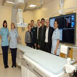 Nuffield Health Leeds Hospital has installed a ceiling-mounted Artis zeeTM interventional imaging system from Siemens Healthcare. (From left to right) Kerry Kirby, Lead Radiographer; Fiona Bertram-Smith, Nurse; Nicola Yates, Cardiac Product Specialist at Siemens Healthcare; Andrew Pimperton, Radiology Manager; Philip Tesh, Regional Sales Manager at Siemens Healthcare; Tuffail Patanker, Consultant Neuro Radiologist; Tony Goddard, Consultant Neuroradiologist and Maritess Gupit-Wills, Lead Nurse.