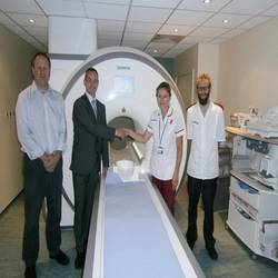 The installation of a MAGNETOM® Aera 1.5T MRI system at Spire Bristol Hospital is part of a wider deployment of Siemens Healthcare MRI systems at four Spire Healthcare locations. (Left to right: Paul McCoubrie, Consultant Radiologist at Spire Bristol Hospital; Darren Parker, Regional Sales Manager at Siemens Healthcare; Rita Powers, MR Unit Manager; and Simon Holmes, MR Unit Manager at Spire Bristol Hospital.)