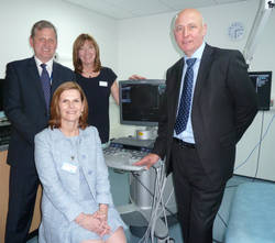 Birmingham Women's NHS Foundation Trust has installed a fourth ACUSON S2000TM ultrasound system from Siemens Healthcare, coinciding with the opening of its Fetal Medicine Department. The system is being used to help staff tackle complex fetal conditions and improve patient experience. (Left to Right) Professor Mark Kilby, Professor of Fetal Medicine at Birmingham Women's Hospital; Bernadette Leonard, Regional Sales Manager and Acting UK Business Manager for Ultrasound and Echocardiology Products at Siemens Healthcare; Veronica Donovan,  Midwife Specialist in Fetal Medicine at Birmingham Women's Hospital; David Wilkins, Divisional Cluster Lead for Clinical Products in North West Europe at Siemens Healthcare.
